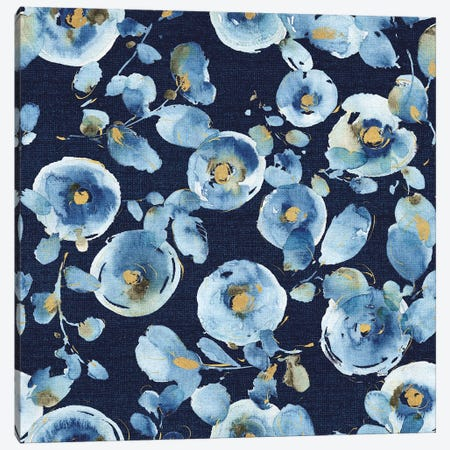 Indigold Flower Toss Indigo Canvas Print #WAC7797} by Lisa Audit Canvas Art
