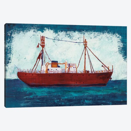 Nantucket Lightship Navy Canvas Print #WAC7845} by Melissa Averinos Canvas Wall Art