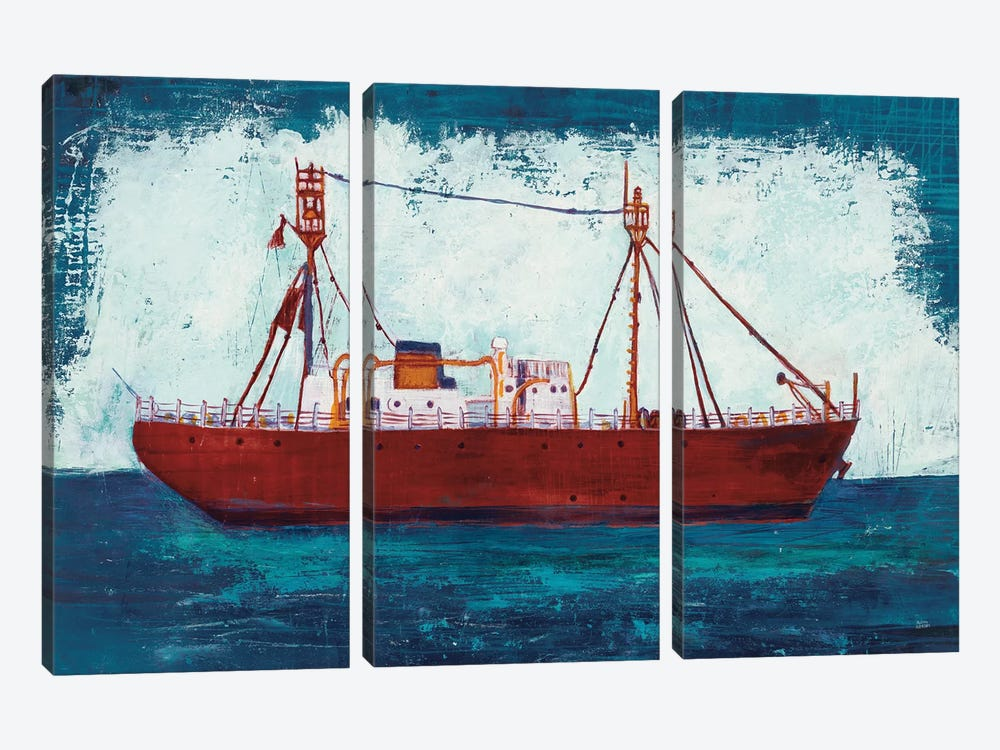 Nantucket Lightship Navy by Melissa Averinos 3-piece Canvas Art