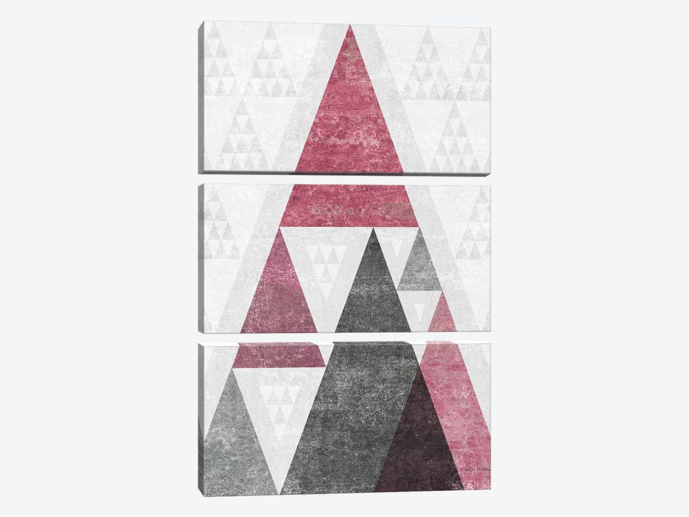 Mod Triangles, Soft Pink III by Michael Mullan 3-piece Canvas Print