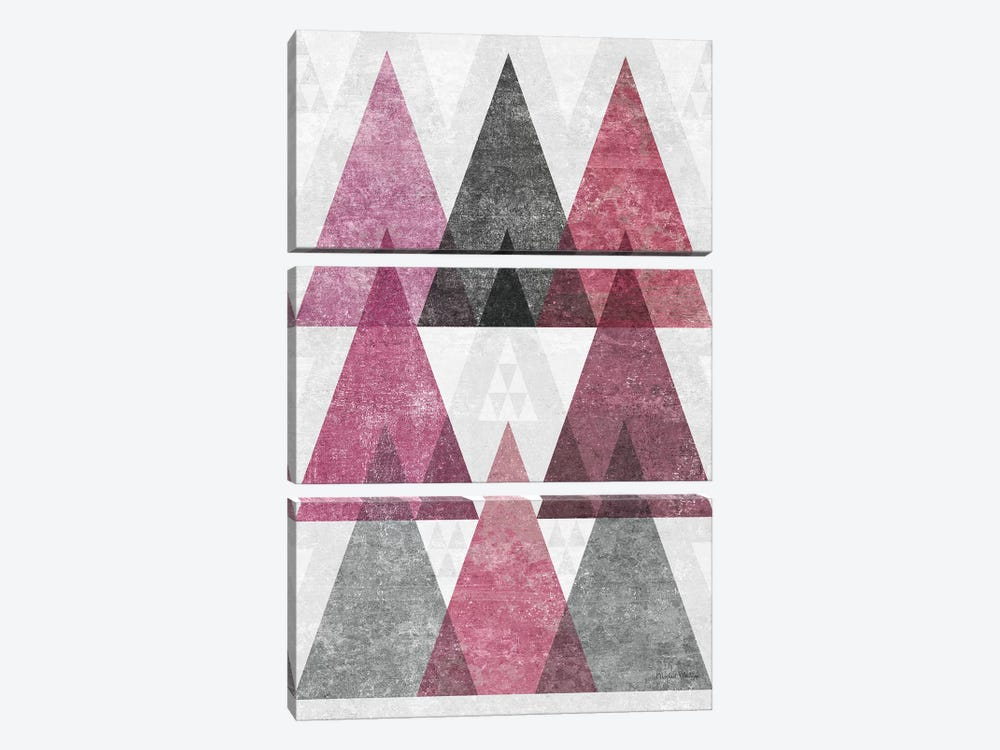 Mod Triangles, Soft Pink IV by Michael Mullan 3-piece Canvas Wall Art