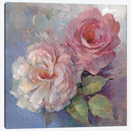 Roses On Blue I Canvas Print #WAC7877} by Peter McGowan Art Print