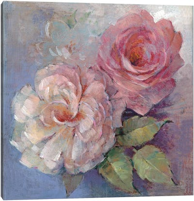Roses On Blue I Canvas Art Print