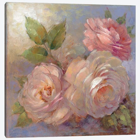 Roses On Blue II Canvas Print #WAC7878} by Peter McGowan Canvas Artwork