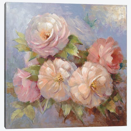 Roses On Blue III Canvas Print #WAC7879} by Peter McGowan Canvas Art