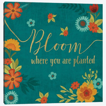 Flourish In Teal I Canvas Print #WAC7923} by Veronique Charron Canvas Wall Art