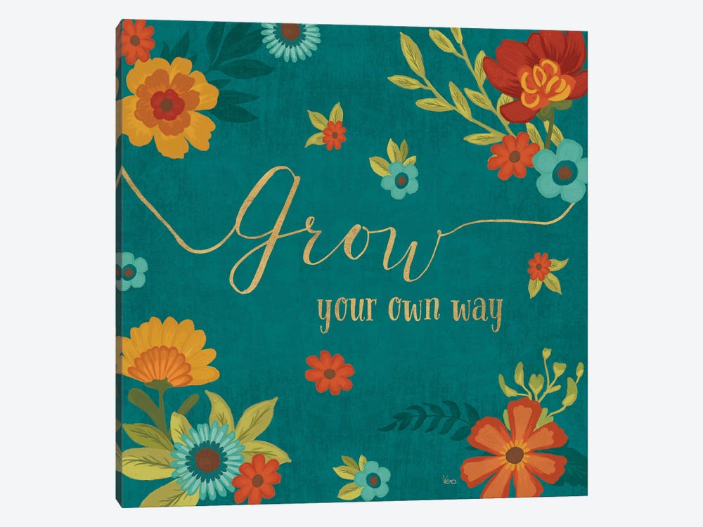 Flourish In Teal II by Veronique Charron 1-piece Canvas Art