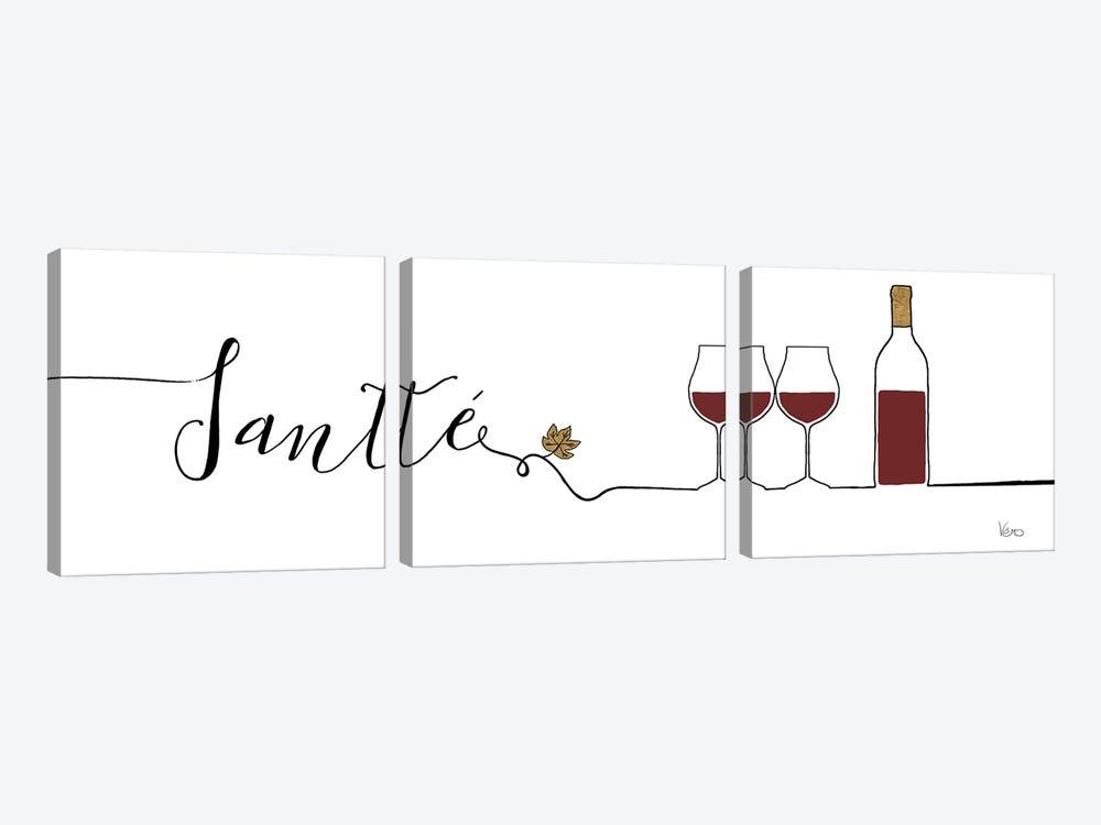 Underlined Wine II by Veronique Charron 3-piece Canvas Wall Art