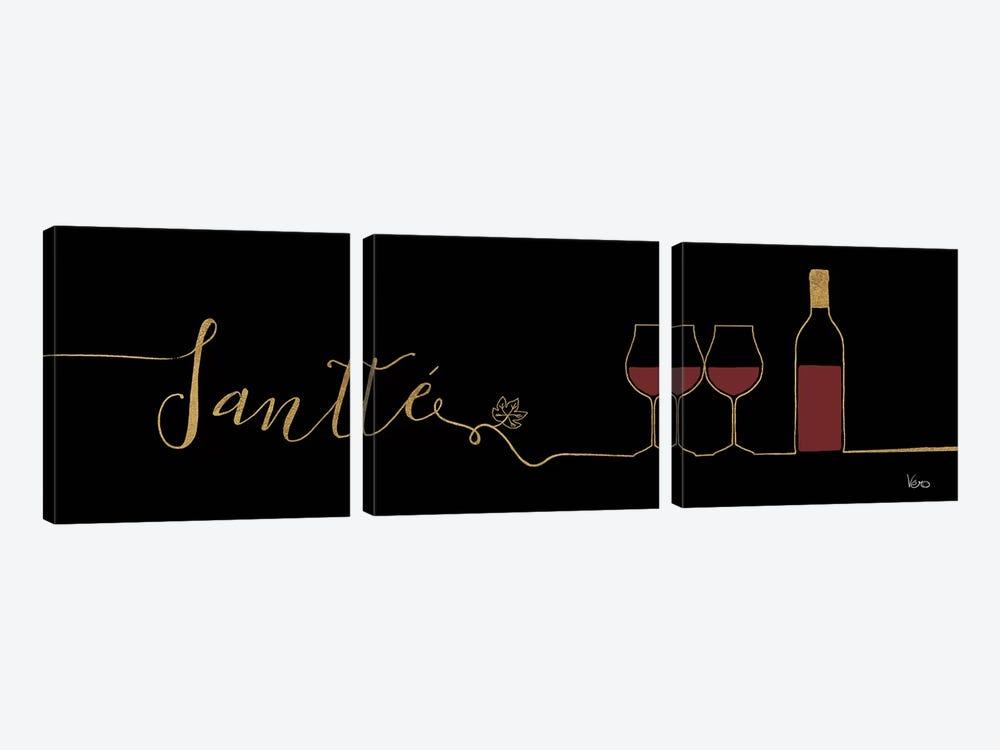 Underlined Wine On Black II by Veronique Charron 3-piece Canvas Art Print