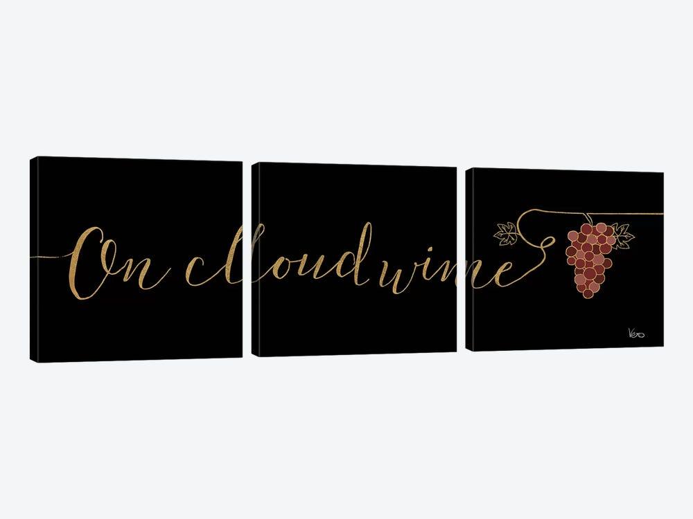 Underlined Wine On Black IV by Veronique Charron 3-piece Canvas Art Print