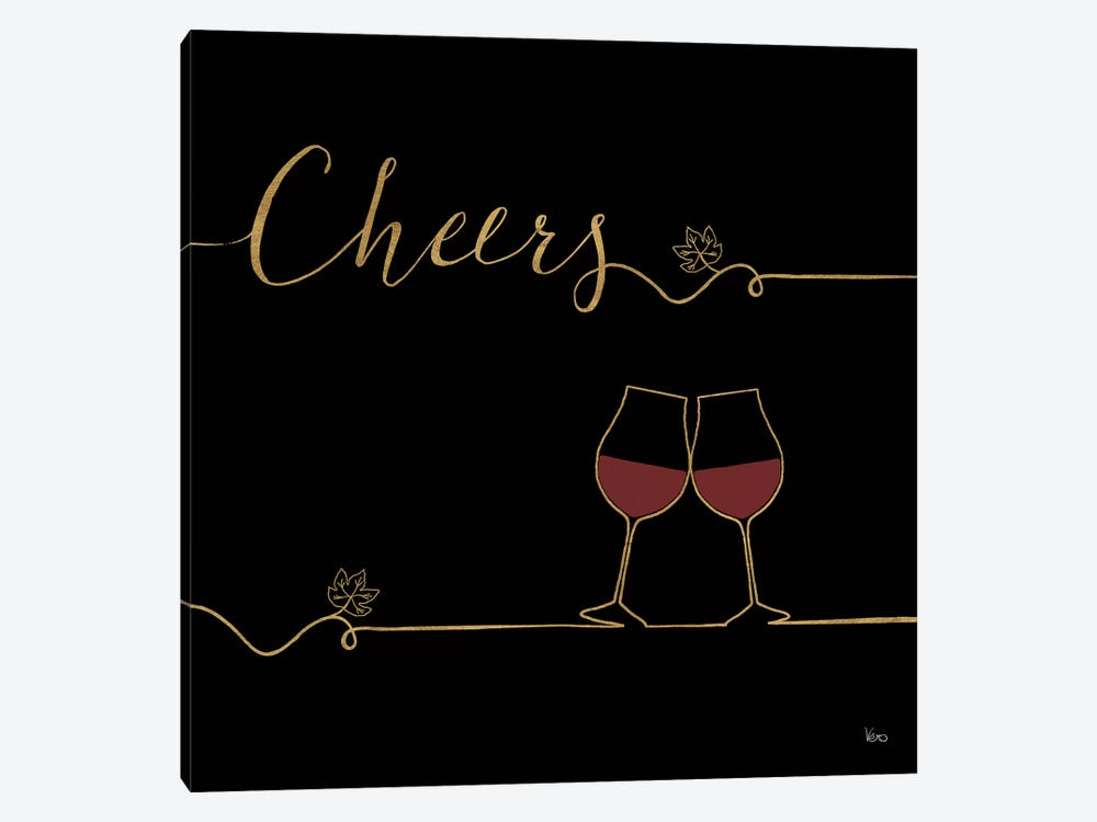 Underlined Wine On Black V by Veronique Charron 1-piece Canvas Art
