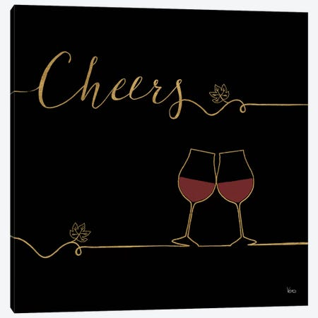 Underlined Wine On Black V Canvas Print #WAC7953} by Veronique Charron Canvas Art Print