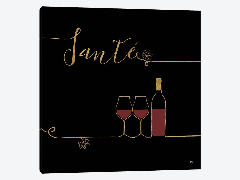 Underlined Wine On Black VI by Veronique Charron 1-piece Canvas Print