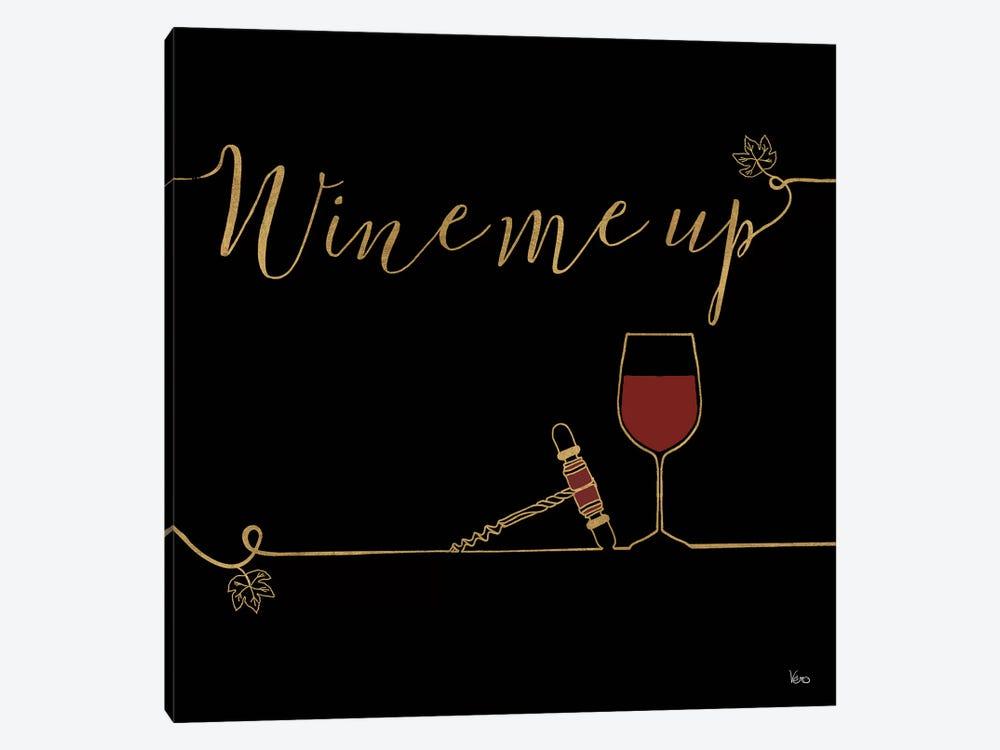 Underlined Wine On Black VII by Veronique Charron 1-piece Canvas Artwork