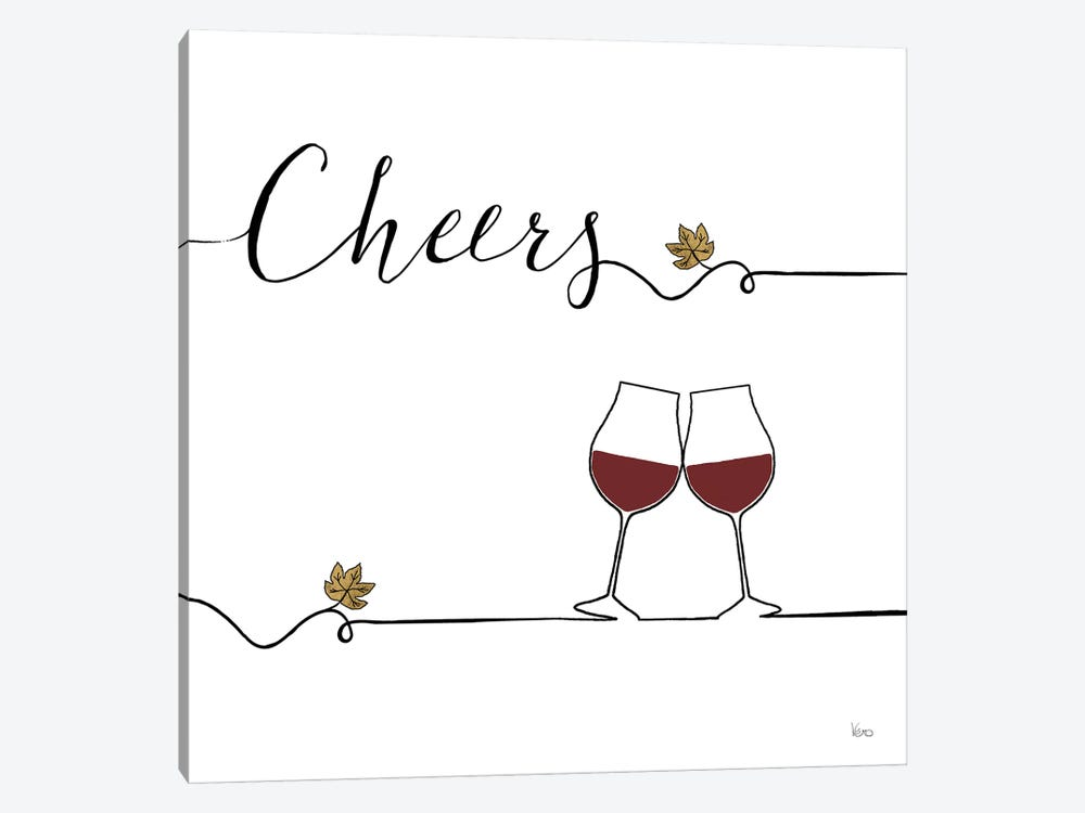Underlined Wine V by Veronique Charron 1-piece Canvas Wall Art