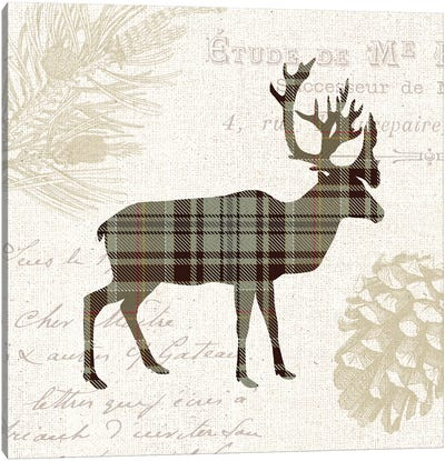 Plaid Lodge, Tan I Canvas Art Print