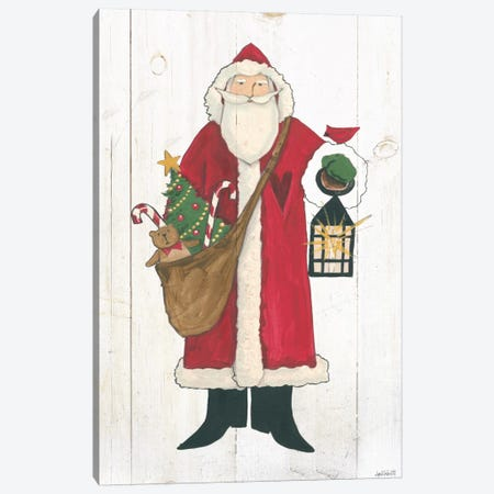 Vintage St. Nick I No Words On White Wood Canvas Print #WAC7997} by Anne Tavoletti Canvas Artwork