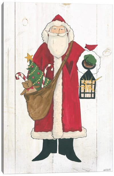 Vintage St. Nick I No Words On White Wood Canvas Art Print