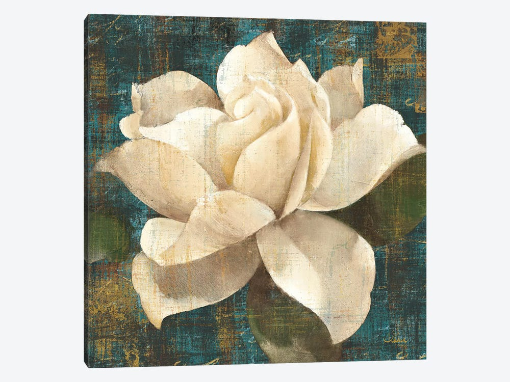 Gardenia Blossom Turquoise 1-piece Canvas Wall Art