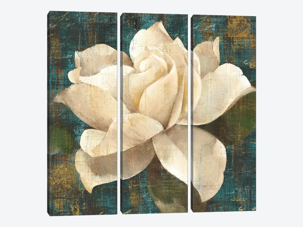 Gardenia Blossom Turquoise 3-piece Canvas Wall Art