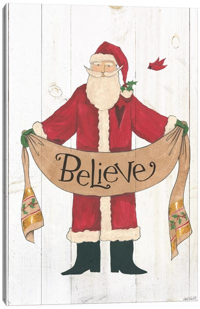 Vintage St. Nick On White Wood Canvas Art Print