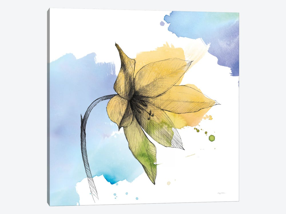 Watercolor Graphite Flower VIII 1-piece Canvas Wall Art