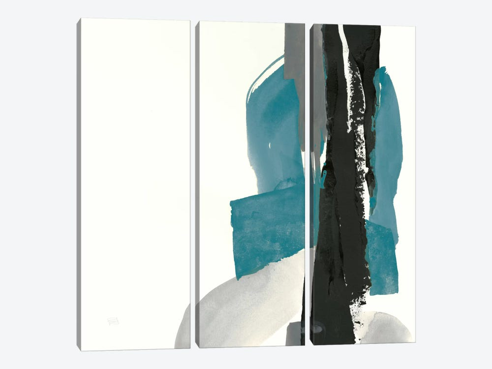 Black And Teal I by Chris Paschke 3-piece Canvas Wall Art