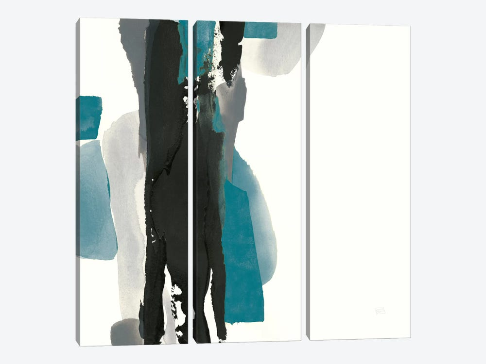 Black And Teal II by Chris Paschke 3-piece Canvas Art Print