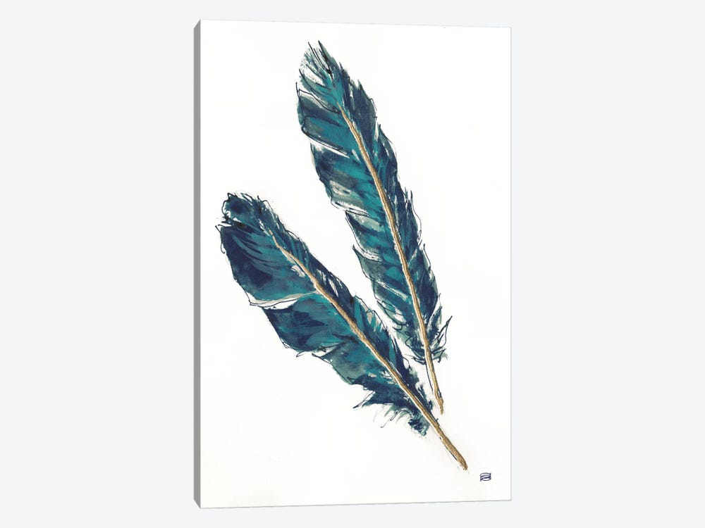Gold Feathers, Indigo III by Chris Paschke 1-piece Canvas Artwork