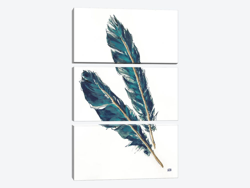 Gold Feathers, Indigo III by Chris Paschke 3-piece Canvas Wall Art