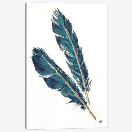 Gold Feathers, Indigo III Canvas Print #WAC8016} by Chris Paschke Canvas Art Print