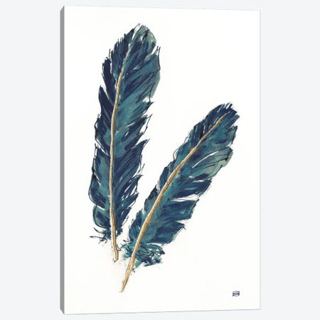 Gold Feathers, Indigo IV Canvas Print #WAC8017} by Chris Paschke Canvas Print
