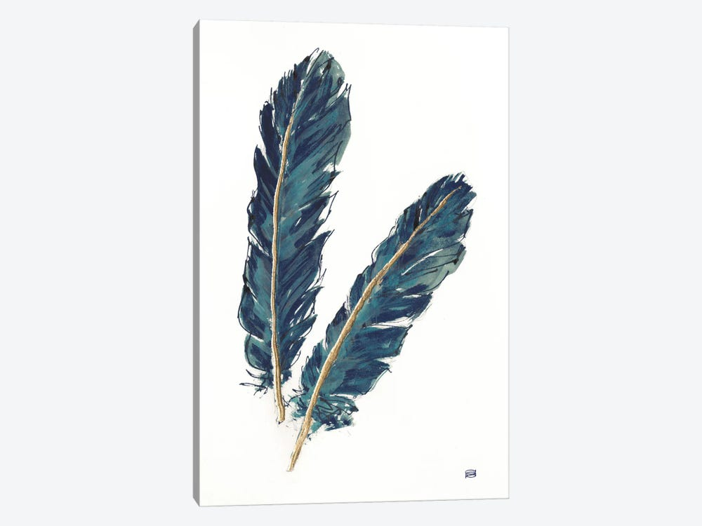 Gold Feathers, Indigo IV by Chris Paschke 1-piece Canvas Print