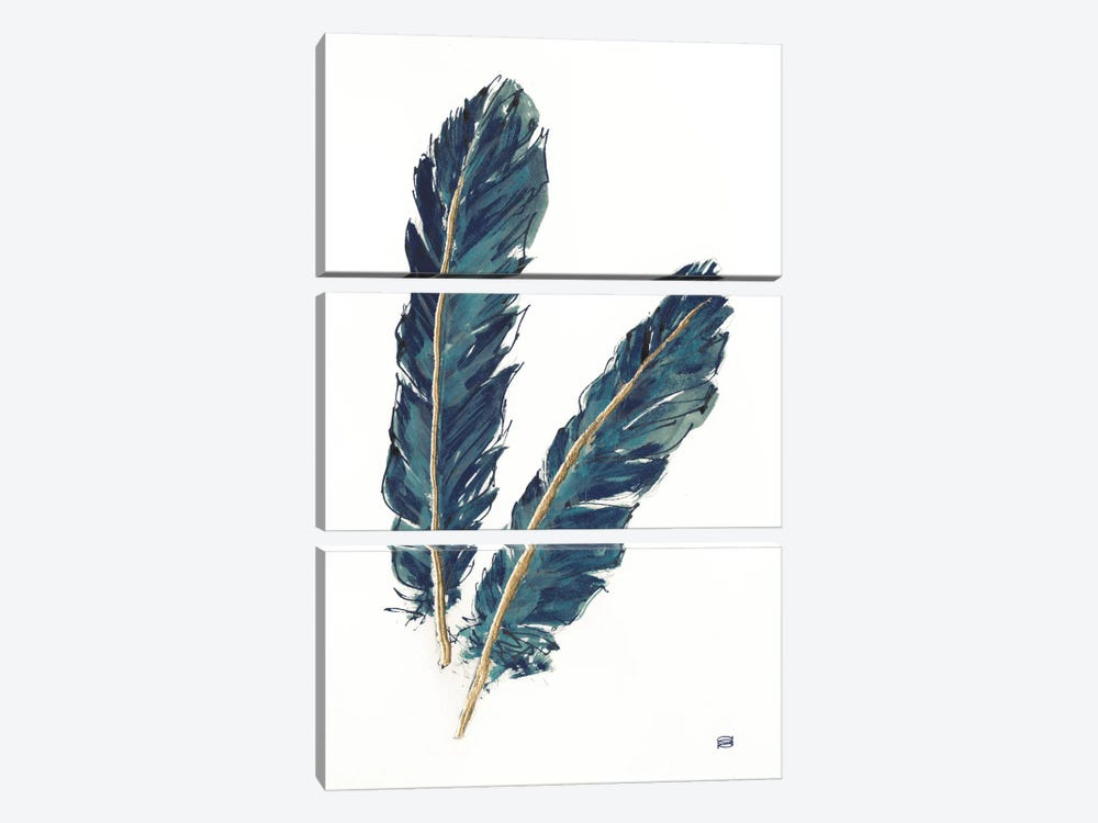Gold Feathers, Indigo IV by Chris Paschke 3-piece Canvas Print