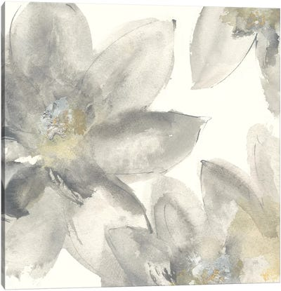 Gray And Silver Flowers I Canvas Art Print