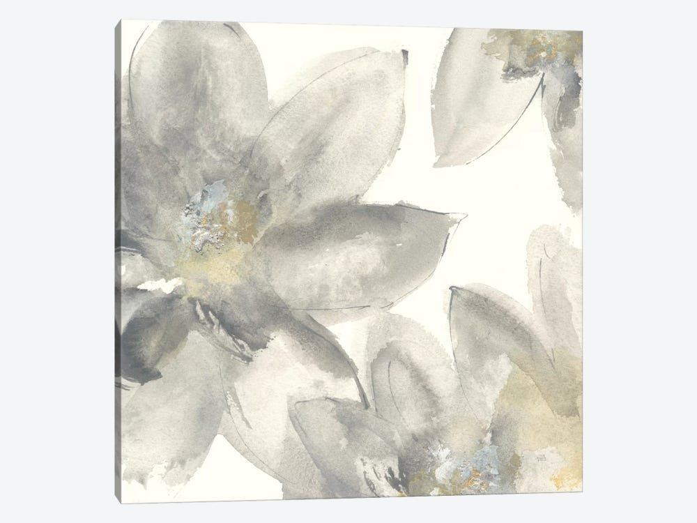 Gray And Silver Flowers I by Chris Paschke 1-piece Canvas Artwork