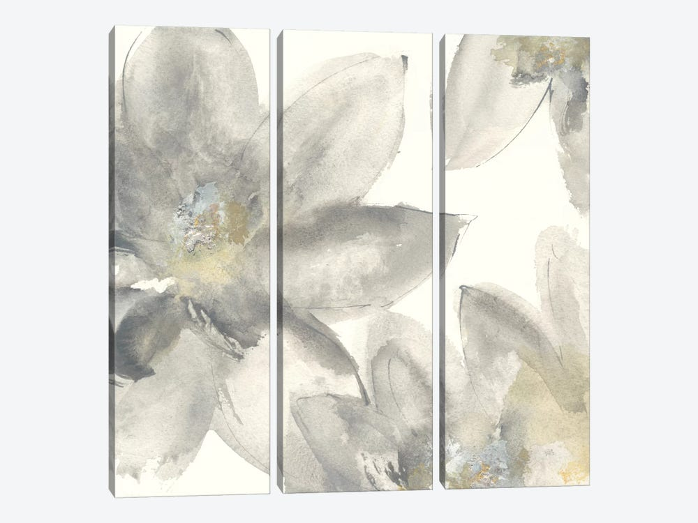 Gray And Silver Flowers I by Chris Paschke 3-piece Canvas Art