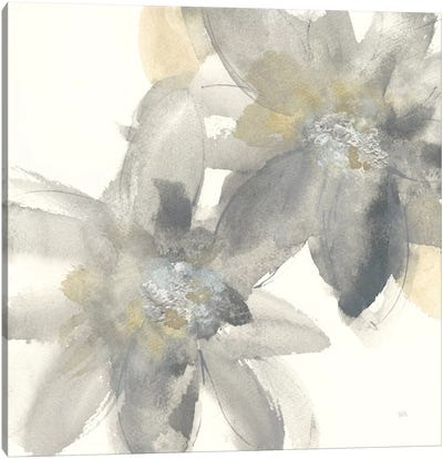 Gray And Silver Flowers II Canvas Art Print