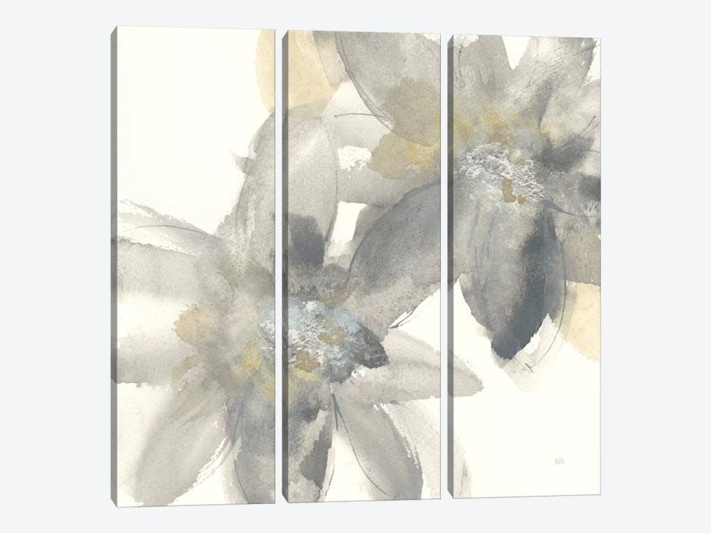 Gray And Silver Flowers II by Chris Paschke 3-piece Canvas Art Print