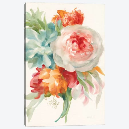 Garden Bouquet, Orange Red I Canvas Print #WAC8036} by Danhui Nai Canvas Print