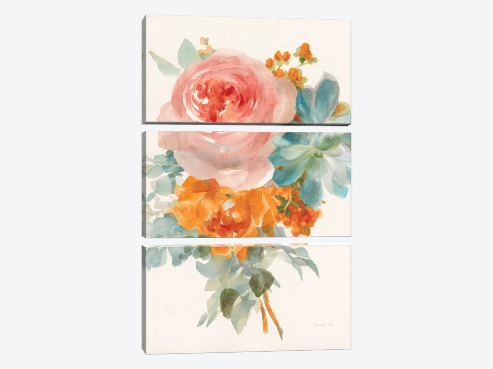 Garden Bouquet, Orange Red II by Danhui Nai 3-piece Canvas Art Print