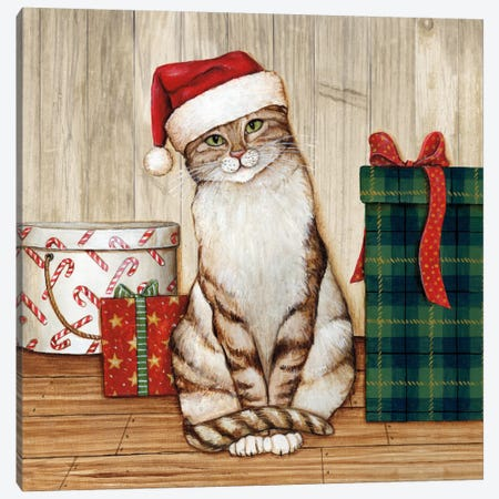 Christmas Kitty On Planked Wood Canvas Print #WAC8051} by David Carter Brown Canvas Art