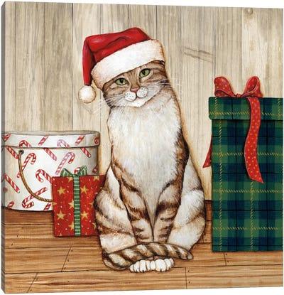 Christmas Kitty On Planked Wood Canvas Art Print