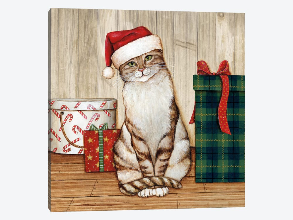 Christmas Kitty On Planked Wood by David Carter Brown 1-piece Canvas Art Print