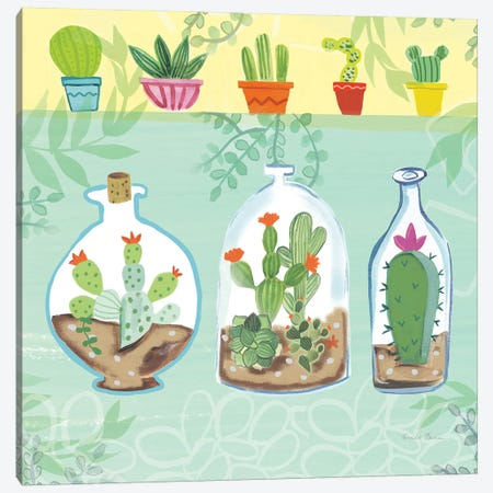 Cacti Garden, No Birds And Butterflies I Canvas Print #WAC8070} by Farida Zaman Canvas Wall Art