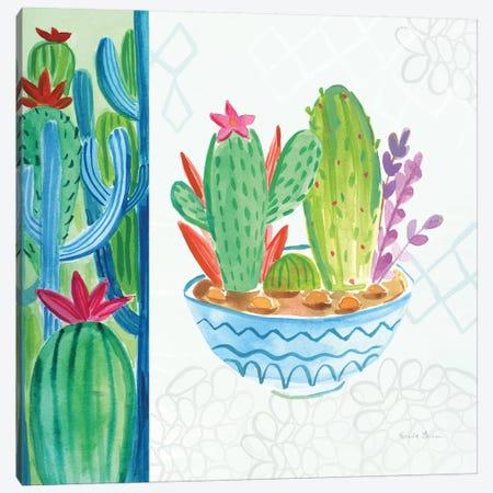 Cacti Garden, No Birds And Butterflies II Canvas Print #WAC8071} by Farida Zaman Canvas Wall Art