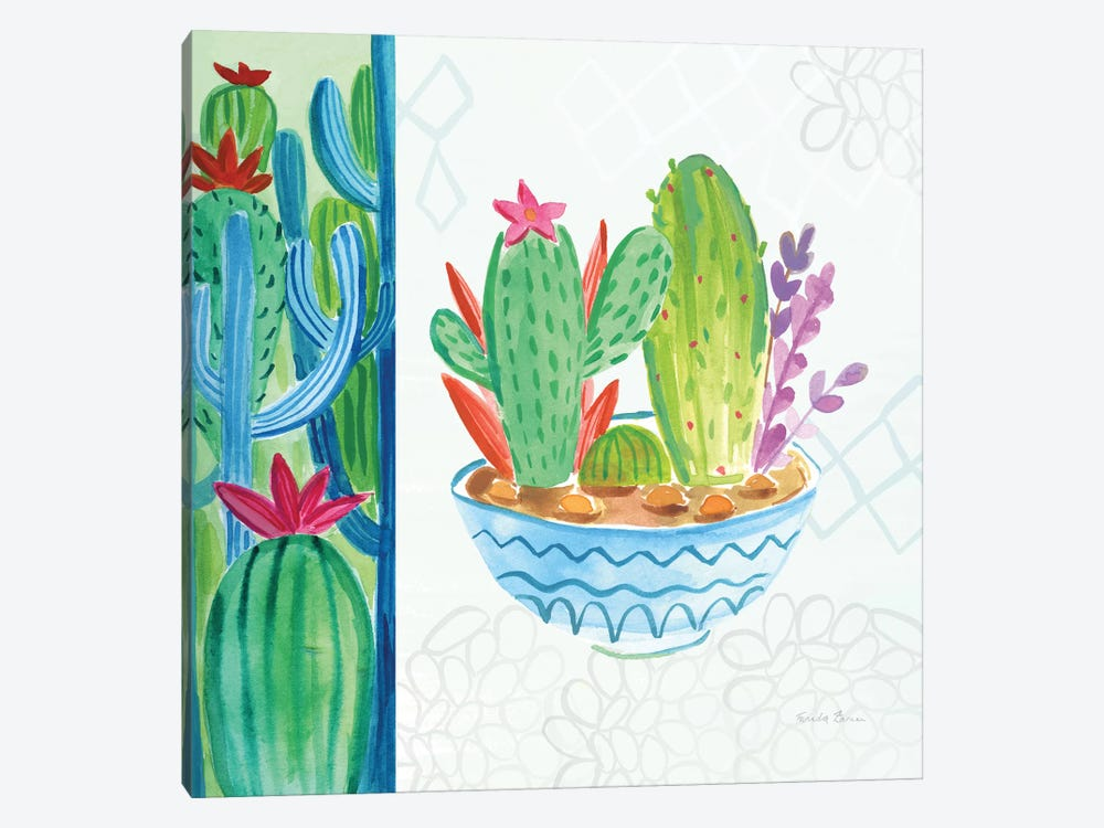 Cacti Garden, No Birds And Butterflies II by Farida Zaman 1-piece Canvas Print