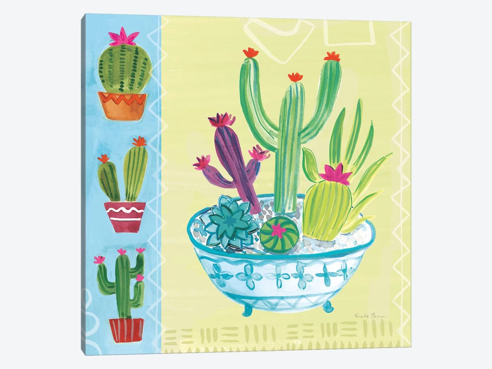 Cacti Garden, No Birds And Butterflies III by Farida Zaman 1-piece Canvas Art