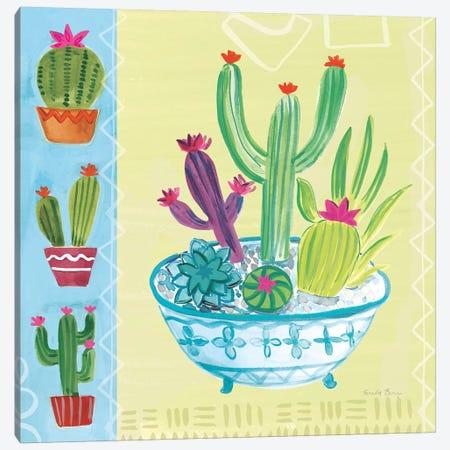 Cacti Garden, No Birds And Butterflies III Canvas Print #WAC8072} by Farida Zaman Canvas Wall Art