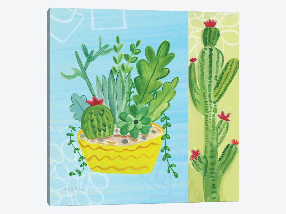 Cacti Garden, No Birds And Butterflies IV by Farida Zaman 1-piece Canvas Print